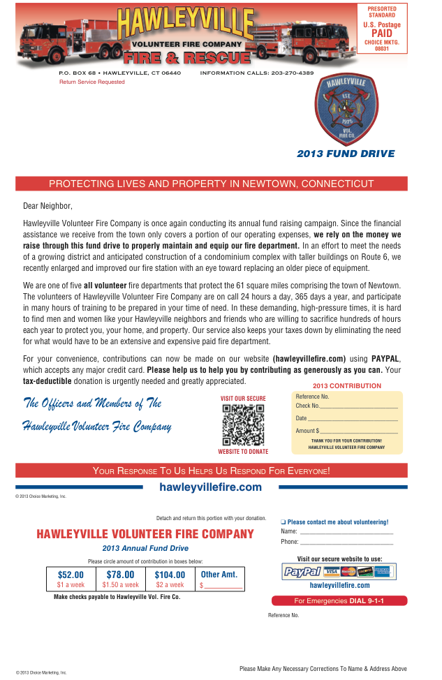 HVFD Fund Drive Form