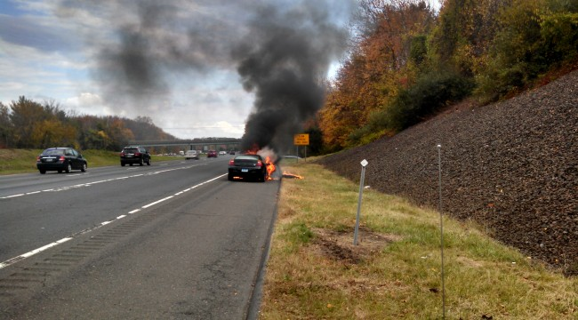 Car Fire On Interstate 84