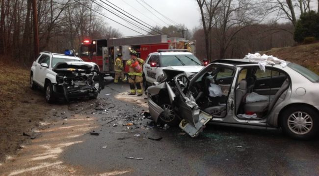 Two Car MVA on Mount Pleasant Road with Entrapment.